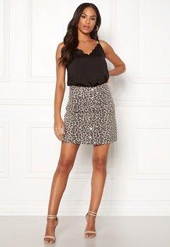 Pieces Sky HW Button Skirt Peyote/Leopard Bubbleroom.no