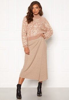 Pieces Suna HW Knit Skirt Natural Bubbleroom.no