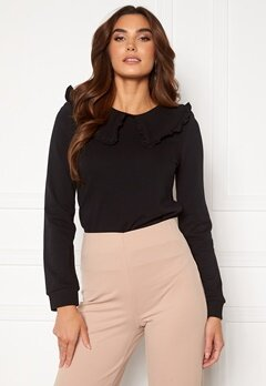 Pieces Tanja LS Top Black<br>  Bubbleroom.no