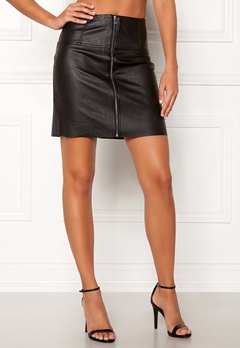 Pieces Tecia Faux Leather Skirt Black Bubbleroom.no
