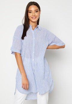Pieces Terra SS Long Shirt Vista Blue Stripes Bubbleroom.no