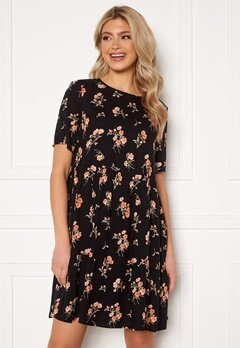 Pieces Trina SS Dress Black Flower Bubbleroom.no