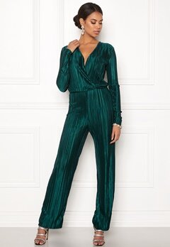 Rut & Circle Pleated Jumpsuit Dark Green Bubbleroom.no