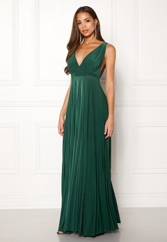 Goddiva Pleated Oscar Maxi Dress Green Bubbleroom.no