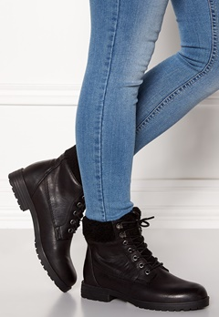 New Look PU Shearling Lace up Boot Black Bubbleroom.no