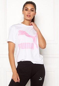 PUMA Classics Logo Tee 002 Wht/Pink Bubbleroom.no