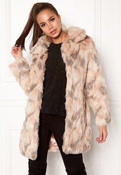 QED London Abstract Faux Fur Coat Abstract Blush Bubbleroom.no