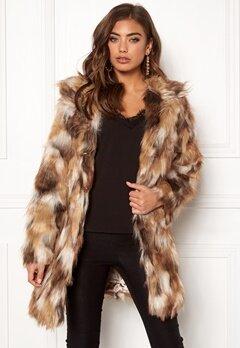 QED London Animal Faux Fur Coat Brown Bubbleroom.no