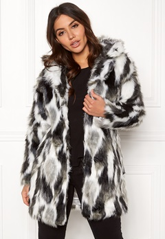 QED London Animal Faux Fur Coat Grey Bubbleroom.no