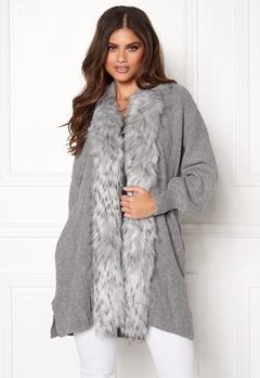 QED London Faux Fur Long Cardigan Grey Bubbleroom.no