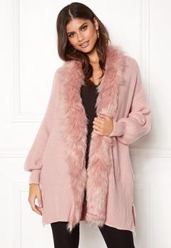 QED London Faux Fur Long Cardigan Pink Bubbleroom.no
