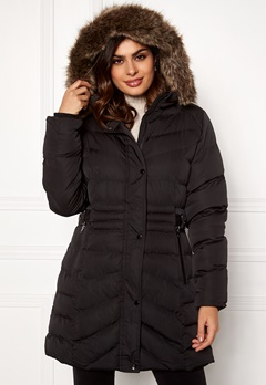 QED London Quilted Long Puffer Coat Black Bubbleroom.no