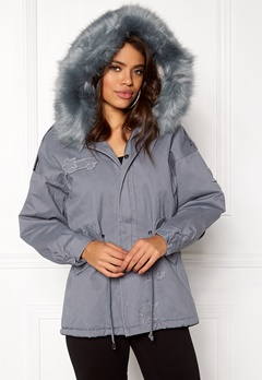 QED London Relaxed Parka Fur Hood Grey Bubbleroom.no