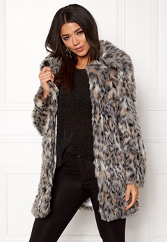QED London Wild Cat Faux Fur Coat Wild Cat Bubbleroom.no