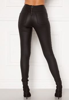 Pieces Roxy HW Zip Coated Leggings Black Bubbleroom.no