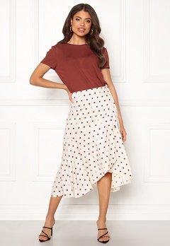 DAGMAR Ruby Skirt Offwhite + Burgundy Bubbleroom.no