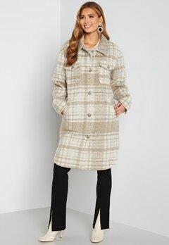 Rut & Circle Becky Check Coat 177 Light Beige/Whit bubbleroom.no