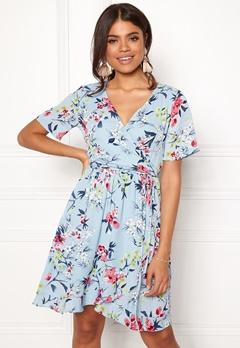Rut & Circle Eleonor Wrap Dress Lt Blue Combo Bubbleroom.no