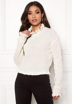 Rut & Circle Emelie Frill Knit White Bubbleroom.no