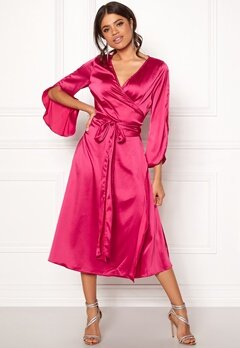 Rut & Circle Fab Wrap Long Dress Hot Pink Bubbleroom.no