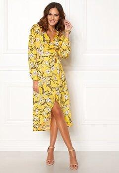 Rut & Circle Flower LS Wrap Dress Yellow Bubbleroom.no