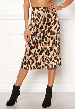 Rut & Circle Frill Midi Skirt Leopard Bubbleroom.no