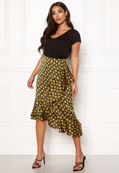 Rut & Circle Isa Midi Skirt Yellow Flower Bubbleroom.no