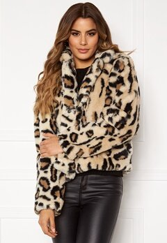 Rut & Circle Nova Faux Fur Jacket Leo Print Bubbleroom.no