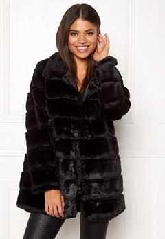 Rut & Circle Panel Faux Fur Jacket Black Bubbleroom.no
