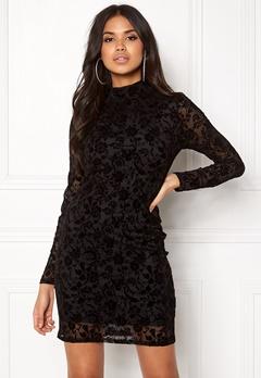 Rut & Circle Velvet Print Dress Black Bubbleroom.no