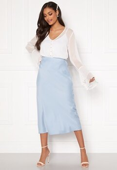 Sandra Willer X Bubbleroom Bias cut skirt Light blue Bubbleroom.no