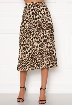 Sandra Willer X Bubbleroom Pleated midi skirt Leopard Bubbleroom.no