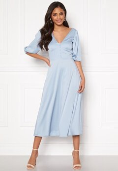 Sandra Willer X Bubbleroom Puff sleeve dress Light blue Bubbleroom.no