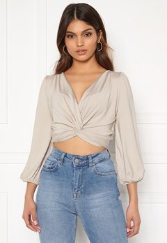 Sara Sieppi x Bubbleroom Draped Crop Top Grey Bubbleroom.no