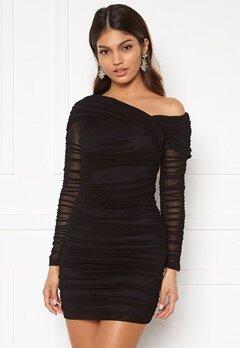 Sara Sieppi x Bubbleroom Ruched Assymetric Dress Black Bubbleroom.no