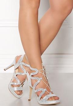 SARGOSSA Chic Pattern Leather Heels Silver Bubbleroom.no