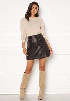 SELECTED FEMME Alberte MW Leather Skirt Black Bubbleroom.no