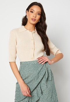 SELECTED FEMME Ally SS Knit Poloneck Sandshell Bubbleroom.no
