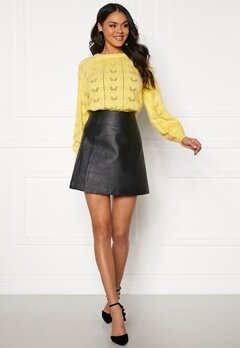 SELECTED FEMME Bobi MW Leather Skirt Black Bubbleroom.no