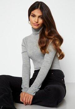 SELECTED FEMME Costina LS knit rib rollneck Light Grey Melange bubbleroom.no