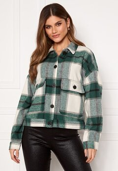 SELECTED FEMME Gia LS Overshirt Hunter Green Checks Bubbleroom.no