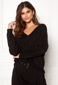 SELECTED FEMME Livana LS Knit V-neck Black Bubbleroom.no