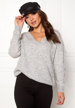 SELECTED FEMME Livana LS Knit V-neck Light Grey Melange Bubbleroom.no