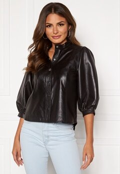 SELECTED FEMME Milla Leather Shirt Black Bubbleroom.no