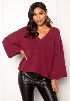 SELECTED FEMME Peri 7/8 Knit V-neck Beet Red Bubbleroom.no