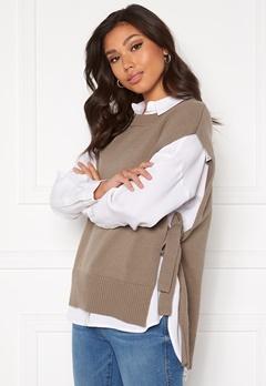 SELECTED FEMME Tinka Tie Knit Vest Fossil Bubbleroom.no