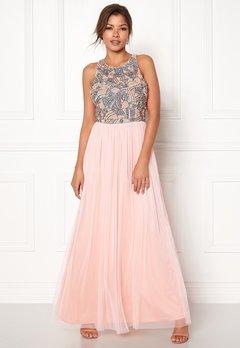 AngelEye Sequin Bodice Maxi Dress Pink/Grey Bubbleroom.no