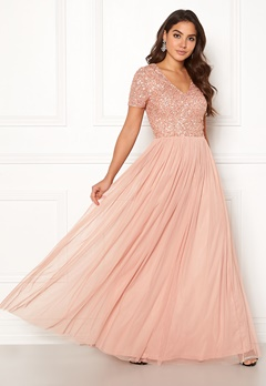 AngelEye Short Sleeve Sequin Dress Cameo Rose Bubbleroom.no