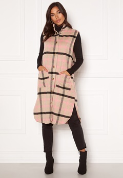 Sisters Point Elvo Vest 206 Sand/Pink check Bubbleroom.no