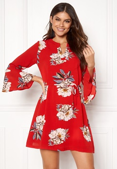 Sisters Point Glans-8 Dress 501 Red/Flower Bubbleroom.no